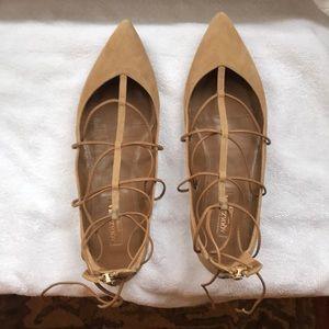 Aquazzura tan suede lace up flats 35.5 (5.5)